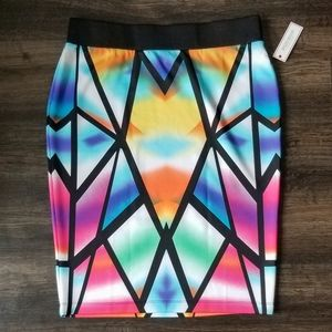 NWT🍍Bisou Bisou Stained Glass Pink Blue Skirt